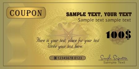 Coupon gold, template vector Stock Vector - 9316272
