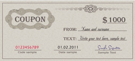 Coupon paper certificate Vector