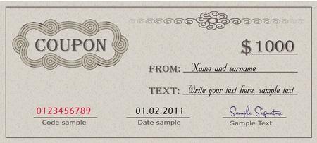 coupon: Gutschein-Papier-Zertifikat