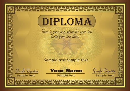 Diploma gold frame security  Vector