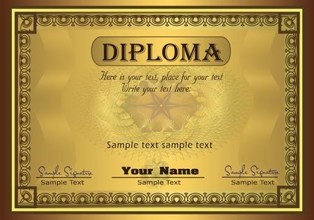 diploma: Seguridad de oro marco del Diploma  Vectores
