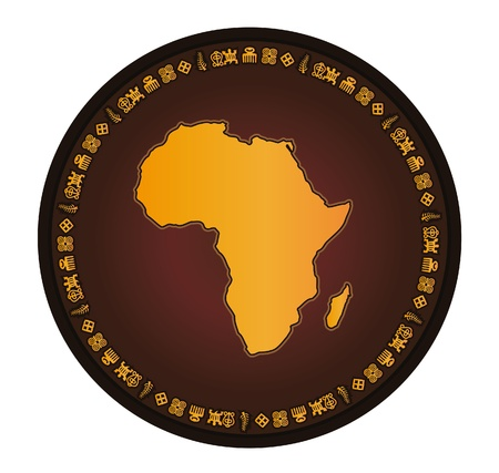 yellow african: Africa globe frame vector map