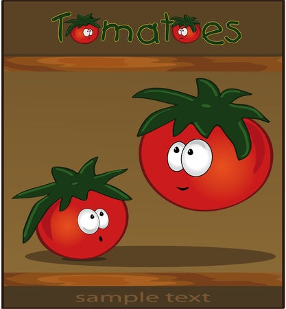 Tomatoes - brown wood Vector