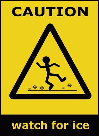 wet floor caution sign: Reloj de precauci�n para hielo