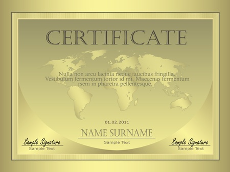 valuation: Certificate Gold globe Illustration