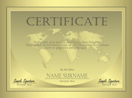 Certificate Gold globe Stock Vector - 9337351