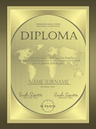 Diploma Gold globe vertical Vector