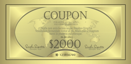 Coupon gold template Stock Vector - 9363645