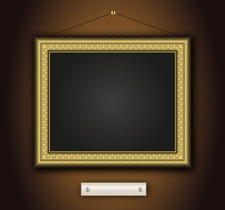 Frame old antique gold Baroque vintage picture classic vector horizontal Stock Illustratie