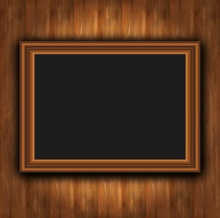 Frame wood board photoframe Vector