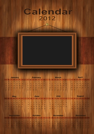 vector 2012 calendar wood, photo frame for your photos, Stock Vector - 10097795