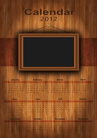 vector 2012 calendar wood, photo frame for your photos, Stock Illustratie