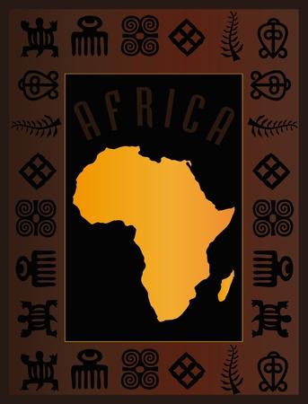continente africano: África del mapa tarjeta