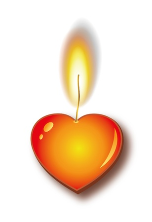 red love heart with flames: Quema de coraz�n vela  Vectores