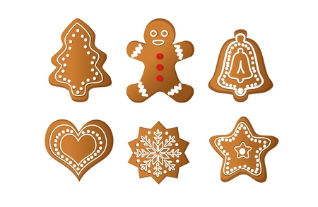christmas cookie: gingerbread isolated vector object  Illustration