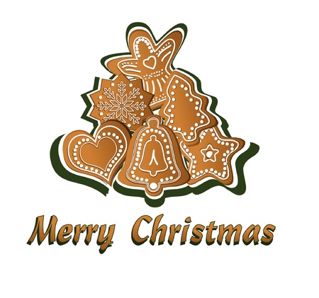 christmas cookie: Gingerbread vector, Merry Christmas Illustration