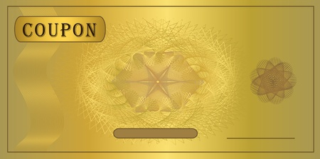 gift certificate: raster Coupon gold template
