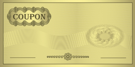 wavelet: raster Coupon gold ornament certificate template