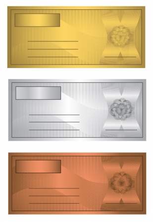 wavelet: raster Coupon trio Gold Silver Bronze template