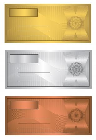 raster Coupon trio Gold Silver Bronze template