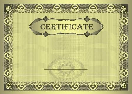 raster Certificate gold Frame ornament A4 template