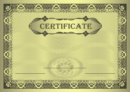raster Certificate gold Frame ornament A4 template
