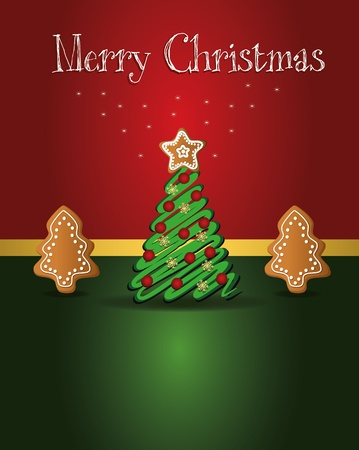 Christmas card gingerbread tree Vector