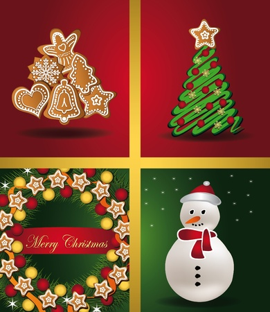 Christmas cards Windows tree gingerbread snowman wreath Vector