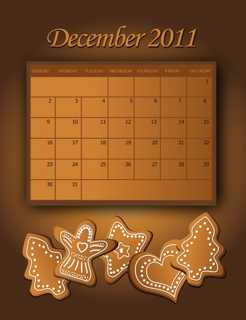 Calendar December Christmas 2011 Stock Vector - 10269603