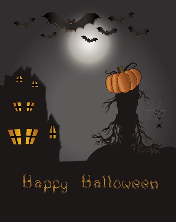 Halloween Happy card - bat pumpkin spider web house tree Stock Vector - 10292052