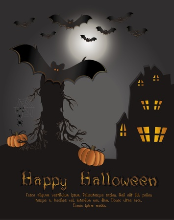 Halloween Happy card bat template dark Vector