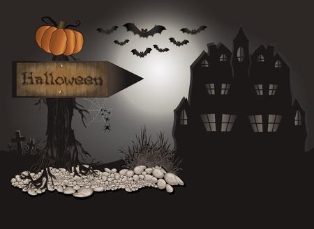 Halloween Board tree stone Stock Vector - 10341669