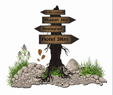 vector Board tree wood guidepost sign