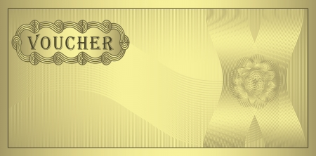 raster Voucher gold coupon Stock Photo