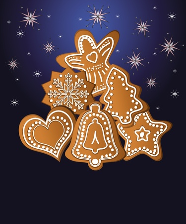 Christmas gingerbread blue template Stock Illustratie