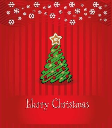 Merry Christmas congratulation vector, Red background  Vector