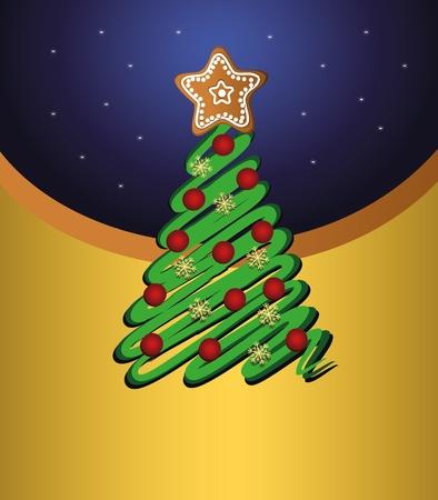 Merry Christmas, tree green vector gold card Vector
