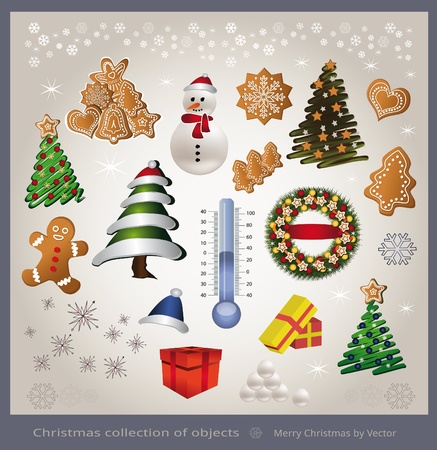 vector Christmas object element - tree snowman thermometer gingerbread gift Stock Illustratie