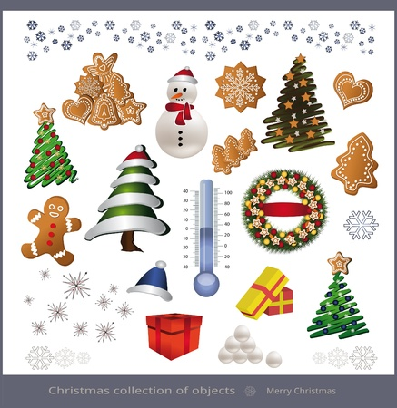 raster Christmas object element - tree snowman thermometer gingerbread gift Stock Photo - 10413001