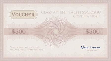 vector Voucher Guilloche rose pink coupon certificate template security spirograph Stock Illustratie