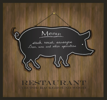 pig: vector Blackboard pig restaurant menu card