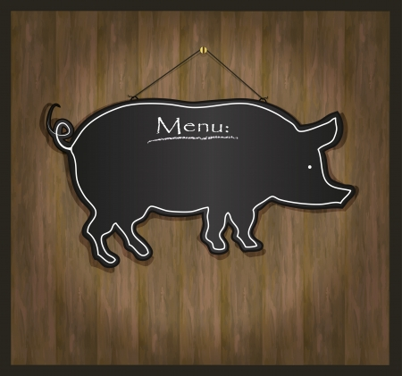 raster Blackboard pig restaurant menu card photo