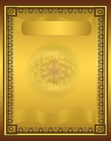 raster Certificate Diploma gold vertical Stock Photo - 10503375