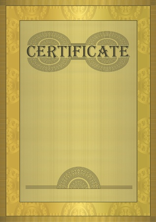 significant: raster Certificate gold ornament frame  Stock Photo