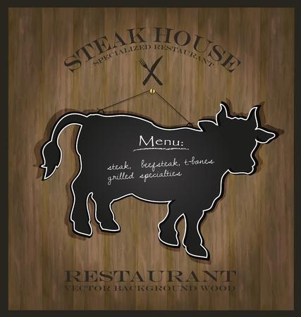 Blackboard cow bull restaurant menu card Stock Vector - 10613135