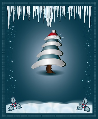 Christmas blue  congratulations card tree Vector