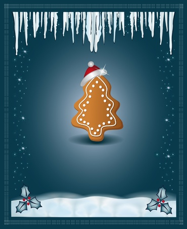 Christmas blue congratulations card gingerbread Vector