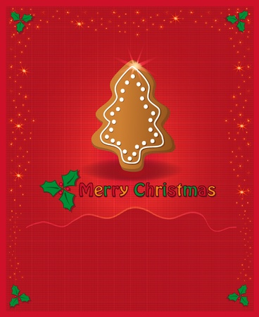 Christmas red congratulations card gingerbread Vector