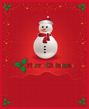 Christmas red congratulations card snowman Vector