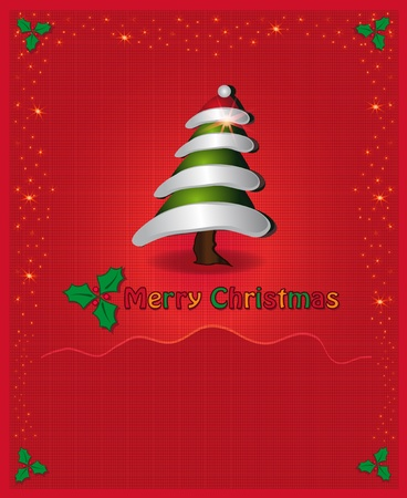 Christmas red congratulations card tree Vector